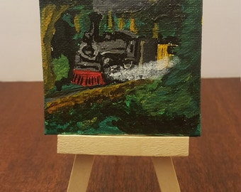"3"" X 3"" Mini Acrylic painting of steam engine going through the woods"