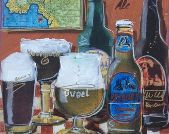 """14 x 14 Mixed Media on Paper """"Craft Beer"""" Original Painting"""