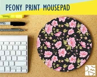 Peony Pattern Print Mousepad w/ Custom Monogram- Personalized Gift - High Quality Digital Print,   Desk Accessory