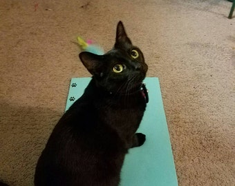 MeowMat Deluxe Custom Yoga Mat for Cats with Toy