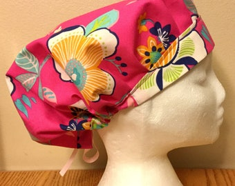 Tropical Summer! Pink Women's Surgical Scrub Hat, Bouffant Style