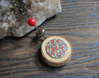 Wood Necklace, Red Necklace, Statement Necklace, Recycled Jewelry, Unique Jewelry, Modern Jewelry, Hand Painted Jewelry, Metal Necklace