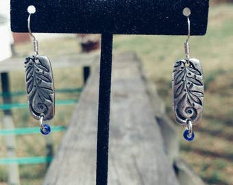 Etched Pewter Rectangular Dangle Earrings