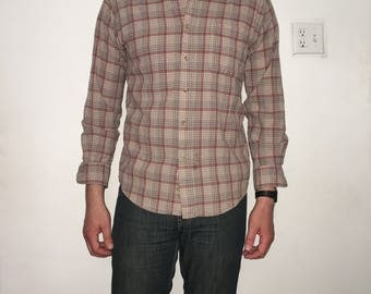 Pendleton Beige and Red Wool Button-down Size M