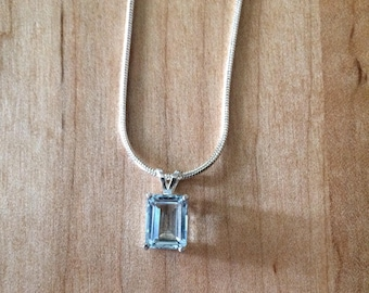 NEW REDUCED PRICE *** Aquamarine Emerald Cut in Sterling Silver Setting
