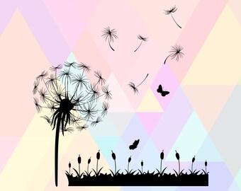 Dandelion SVG | Wild flower svg | Wildflower vector | Dandelion silhouette | Dandelion Cutting Template | Nature Flower svg | Dandelion File