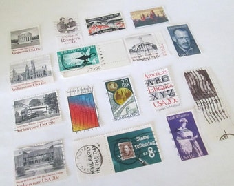 Vintage Postage Stamps, Education, Craft Supplies, Assemblage Art