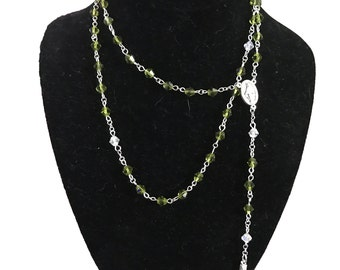 Silver & Crystal Rosary Necklace