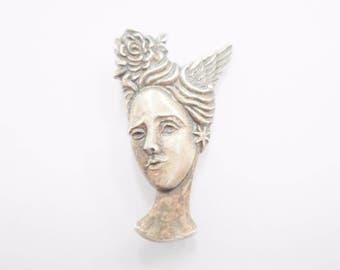Goddess Brooch, Vintage Brooch, Sterling Brooch, Sterling Silver Goddess Head Brooch #2377