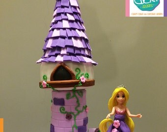 Edible Fondant Tangled (Rapunzel) Tower Cake Topper