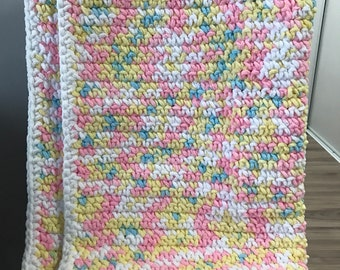 Baby Blanket-White/Pink/Blue/Yellow Multi colour