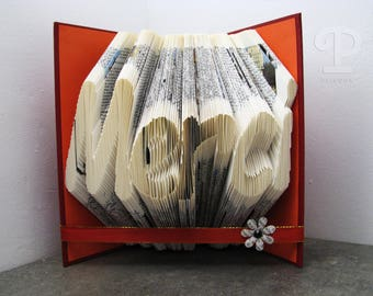 Folded book - Merci - Book sculpture - Altered book - Craft - Gift - Book art - Thank you