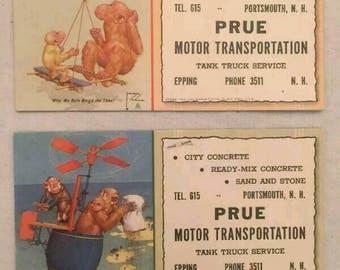 Vintage Ink Blotter Lot Monkeys Prue Motor Transportation Portsmouth NH Concrete
