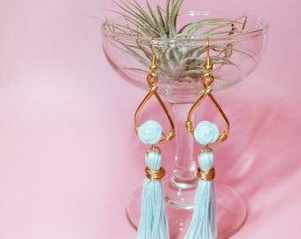 Mint Floral Drop Earrings