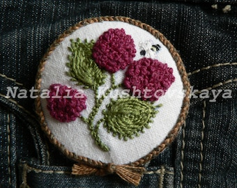 "Hand Embroidered Brooch, textile brooch ""Ripe raspberries"""