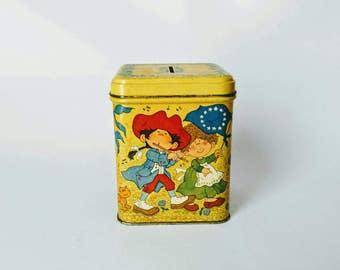 Vintage tin, hallmark tin, childrens piggy bank, yellow tin, patriotic tin, old piggy bank, on sale, patriot tin, collectible tin