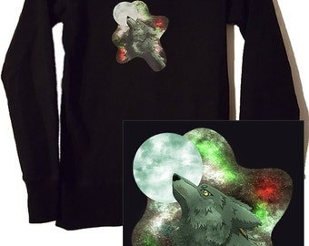 Cartoon animal Wolf Licht green Galaxy printed sweater size S gift long warm