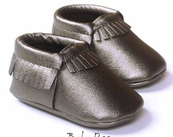 Baby Metallic Grey Moccasin Shoes