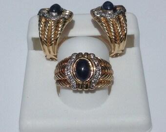 Estate 14K Yellow Gold Diamond Cabochon Sapphire Ring & Earring Set 19.3 Gram