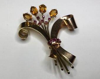 Estate Retro 14K Yellow Gold Natural Citrine & Ruby Ribbon Pin Brooch 21.4 Grams