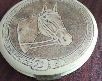 Vintage Rex Fifth Avenue Celluloid Flapjack Powder Compact With Image of a Horse