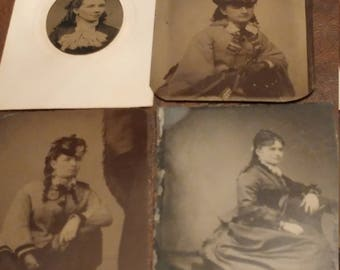 Pretty Women, Pretty Curls:  Lot of 4 Antique Tintype Photographs of Attractive Women With Curled Hair