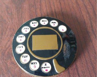 Rare Vintage Figural Telephone Dial Mirror/Powder Compact After Salvador Dali For Schiaparelli