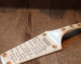 Porcelain Red Plaid Cake Server