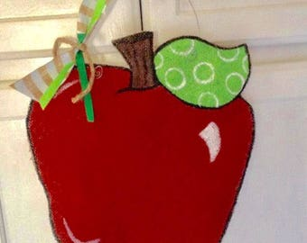 Apple for the Teacher painted burlap door hanger