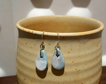 Blue and white teardrop polymer clay earrings with nicklefree fishhook. Gifts for her, birthday, anniversary