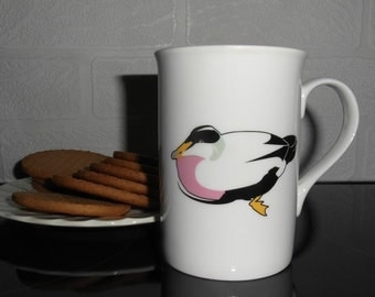 Mugs -white - bone china -nautical themed - seaside themed - duck- eider