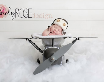 White clouds airplane newborn backdrop