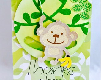 Thanks A Bunch Spinner Card, Moveable Card, Interactive Card, Monkey Card, Jungle Card, Spinner Card, Thank You Card, Monkey Stationary