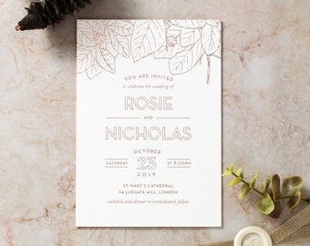 Modern Floral Wedding Invitation – Luxurious Foil Stamping, White 16055