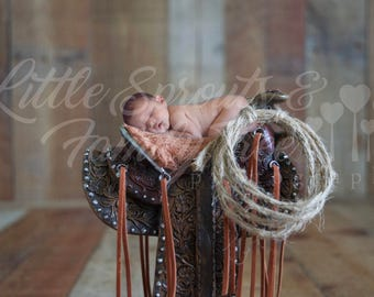 Newborn backdrop digital background western saddle cowboy