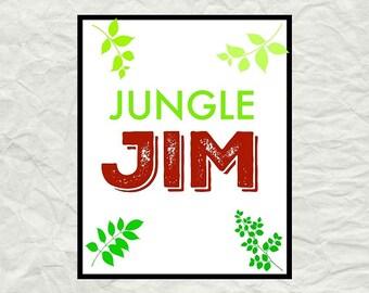 Jungle Jim Name Print, Instant Download Printable Digital Art, 0014
