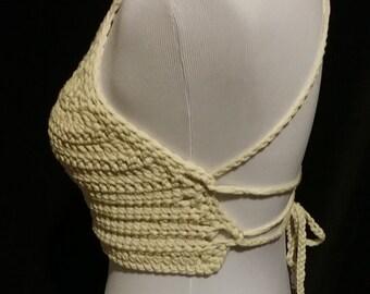 Handmade crochet cotton summer halter festival top