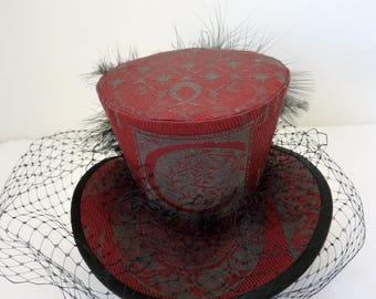 Lolita Hat/ Gothic Hat/ Steampunk Hat/ Top Hat in Millennium fabric with Merry Widows veil.