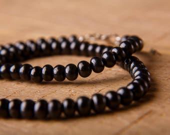 Shungite Necklace Flat Round Beads 8 mm (0,31 inch) Karelian Shungite EMF Protection Healing chakra Magic aura stone chakra balancing