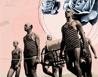 "Digital Art on canvas "" We come one "", Mixed Media art, Vintage art, Wall Art, Home decor"