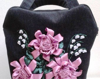 Embroidered Ribbon Roses Bag