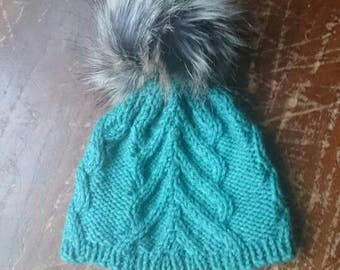 Arrow Cable Baby Hat / knitted baby hat / cable knit hat / pompom hat