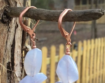 Soft Blue Chalcedony Earrings