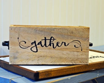Reclaimed Wood Box, Wood Box, Gather Box, Personalized Wood Box, Box with handles
