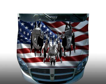 Dodge ram american flag Hood Wrap Wraps Sticker Vinyl Decal Graphic