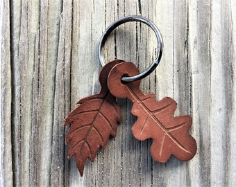 Small Leather Keychain Leaves