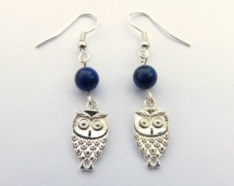 Silver Plated Owl Earrings with Blue Lapis Lazuli Beads