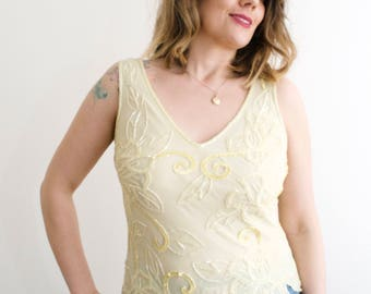 Vintage Yellow Sequin and Beaded Top