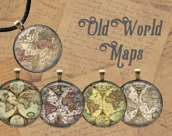 Antique Maps 1.5 inch/ 1 inch Circles