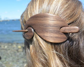 Walnut Wooden Hair Stick, Wooden Barrette